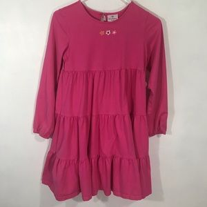 Hanna Andersson Pink Tiered Dress Long Slv 150 /12
